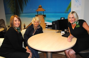 Mrs Gerrie pictured with CAS Travel staff Jo Dobbie and Alison Barran.
