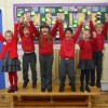 St Michael's children celebrating the great Ofsted report.