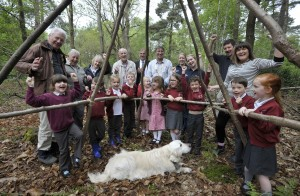 Children from Cecil Gowing Infant School, councillors from Broadland District Council and Sprowston Town Council and the Norwich Fringe Project at Harrison's Wood.