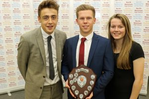 Picture Attached: Joint winners of the NWHS Sports Personality of the Year Award Luke Everson (left) and Lauren Hemp, with guest speaker and former NWHS student Josh Roper (centre) (photo: Andy Newman)