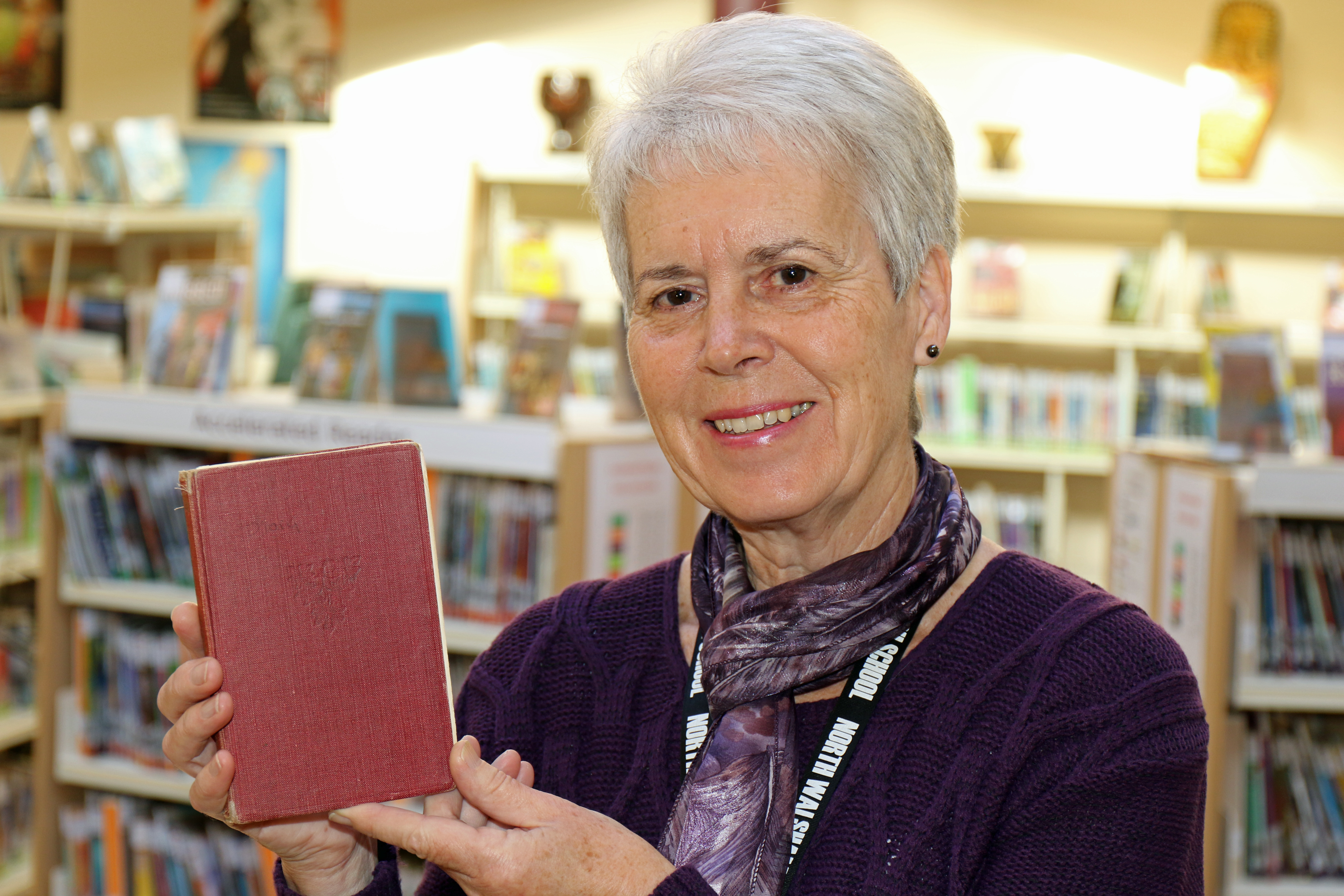 NWHS librarian Liz Sawyer with the overdue book from 1953 which has been-returned. PICTURES: ANDY NEWMAN