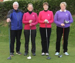 Jayne is picture second left with Mick Baxter, vice-captain and ladies' captain and vice-captain.